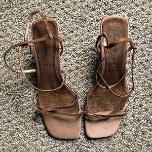 Bronze Glitter Square Toe Heels